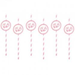 SŁOMKI papierowe Stópki 6szt Różowe