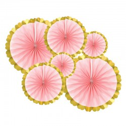ROZETY dekoracyjne Róż i złoto 6szt MEGA