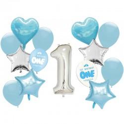 ZESTAW balonów na Roczek dla chłopca niebiesko-srebrny