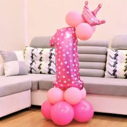 ZESTAW balonów na Roczek dziewczynki z koroną Rózowy