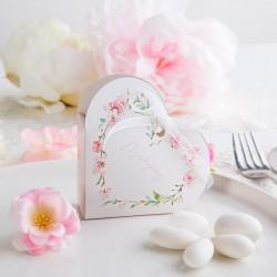 PUDEŁECZKA Serca podziękowanie Różowe Serce (+białe wstążki) 10szt