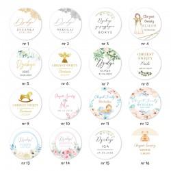 NAKLEJKI etykiety z imieniem dziecka na Chrzest 1szt
