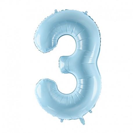 "Balon foliowy Cyfra ""3"", 35cm, niebieski"