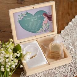PREZENT na Baby Shower w pudełku Serce Bransoletka Mama POZŁACANA