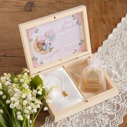 PREZENT na Roczek w pudełku Ballerina Miś Bransoletka z sercem POZŁACANA