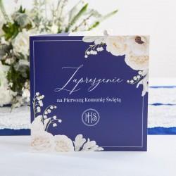 ZAPROSZENIA komunijne dla chłopca Granatowe z kwiatami 10szt (+koperty)