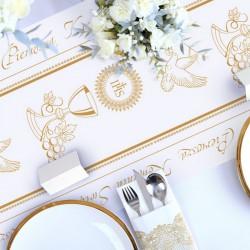 BIEŻNIK dekoracja komunijna stołu obrus Złoty Kielich 40cmx10m