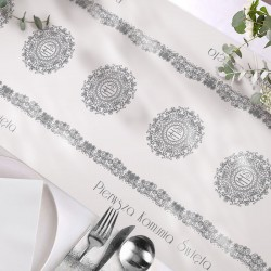 BIEŻNIK dekoracja komunijna stołu obrus Srebrna Hostia 40cmx5m