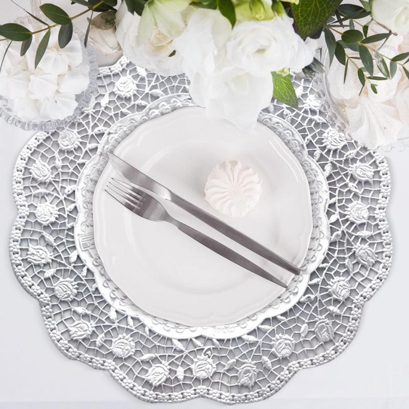 serwety pod talerze srebrne