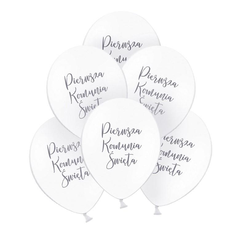 balony komunijne ze srebrnym napisem