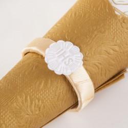 OBRĄCZKI NA SERWETKI satynowe złote Biała Hostia 10szt