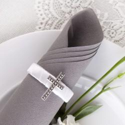OBRĄCZKI NA SERWETKI satynowe białe Srebrny Krzyżyk 10szt