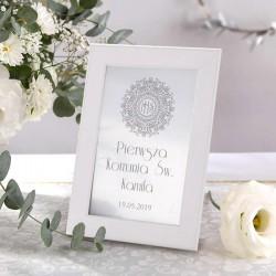 DEKORACJA na stół komunijny tabliczka Srebrna Hostia (+biała ramka na podstawie)