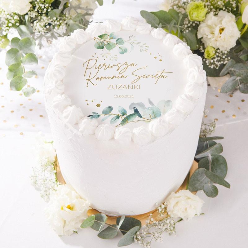 Opłatek na tort komunijny z imieniem dziecka