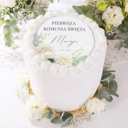 OPŁATEK personalizowany na tort Granatowa Komunia Ø20cm