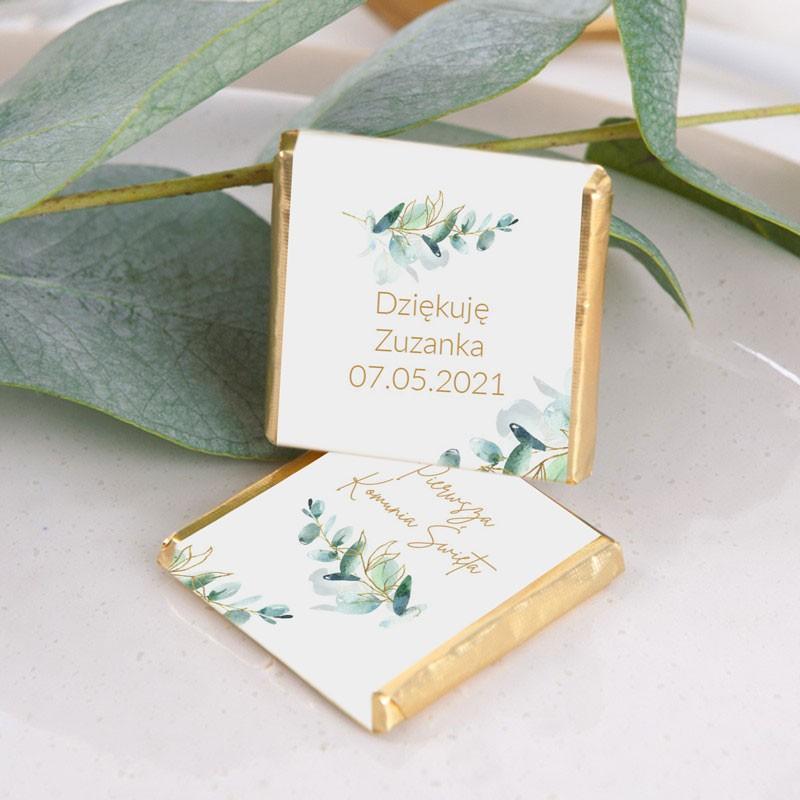 czekoladki komunijne botaniczne z imieniem