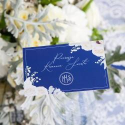 BILECIKI podziękowanie na Komunię chłopca Granatowe z kwiatami 10szt