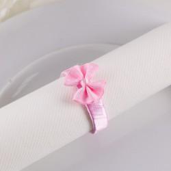 OBRĄCZKI NA SERWETKI satynowe Różowe Kwiatki z perełkami 10szt