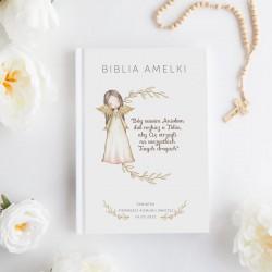 BIBLIA Pamiątka I Komunii Z IMIENIEM Anioł Stróż DUŻA
