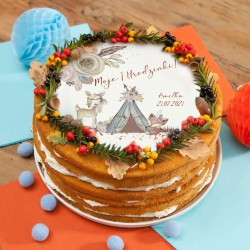 OPŁATEK na tort Roczek Boho Zwierzątka Z IMIENIEM Ø20cm