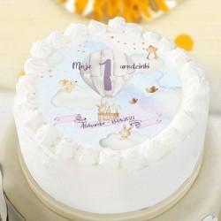 OPŁATEK na tort Roczek Balon i zwierzątka Z IMIENIEM Ø20cm