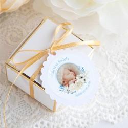 BILECIKI+naklejki ZE ZDJĘCIEM dziecka na Chrzest Kwiatowy Wózek BŁĘKIT 10szt