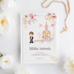 BIBLIA Pamiątka I Komunii Z IMIENIEM Pastelowa z Chłopcem DUŻA