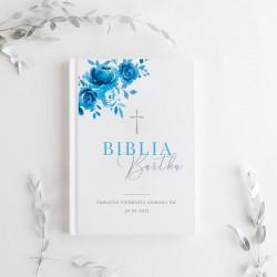 BIBLIA Pamiątka I Komunii Z IMIENIEM dla chłopca Niebieska DUŻA