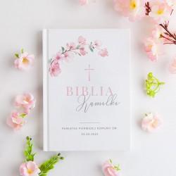 BIBLIA Pamiątka I Komunii Z IMIENIEM Różowa Komunia DUŻA
