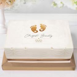 OPŁATEK na tort Chrzest Z IMIENIEM Złote Stópki 21x30cm