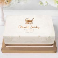 OPŁATEK na tort Chrzest Z IMIENIEM Złoty Wózeczek 21x30cm