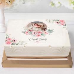 OPŁATEK na tort Chrzest Z IMIENIEM Kwiatowy Wózek RÓŻ ZE ZDJĘCIEM 21x30cm
