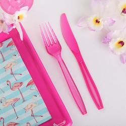 SZTUĆCE plastikowe widelce + noże RÓŻOWE 10kpl