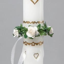 STROIK/OKAPNIK na świecę komunijną Róże i Mirt