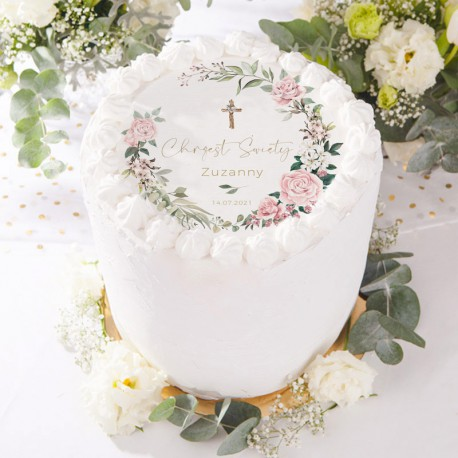 OPŁATEK na tort Chrzest Rustykalne z wianuszkiem Z IMIENIEM Ø20cm