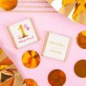 CZEKOLADKI na Roczek Z IMIENIEM Różowo-Złota Jedynka 10szt