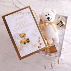 PREZENT na narodziny w pudełku Ręcznik miś + słonik + czekoladki Z IMIENIEM