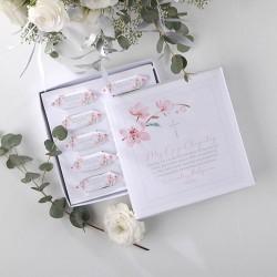 BOMBONIERKA z krówkami dla Chrzestnych/Dziadków Różowa Komunia Z IMIENIEM