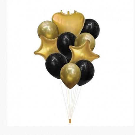 ZESTAW balonów na Chrzest i Roczek złoto-czarny