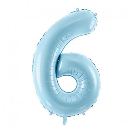 "Balon foliowy Cyfra ""6"", 35cm, niebieski"