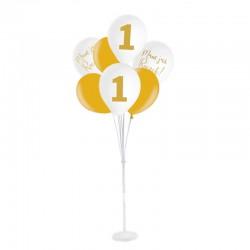 ZESTAW balonów na Roczek ze stojakiem bukiet BIAŁO-ZŁOTY