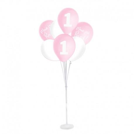 ZESTAW balonów na Roczek ze stojakiem RÓŻOWO-BIAŁY
