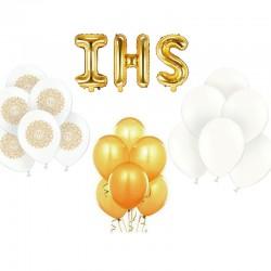 ZESTAW balonów na Komunię BIAŁO-ZŁOTY -25%