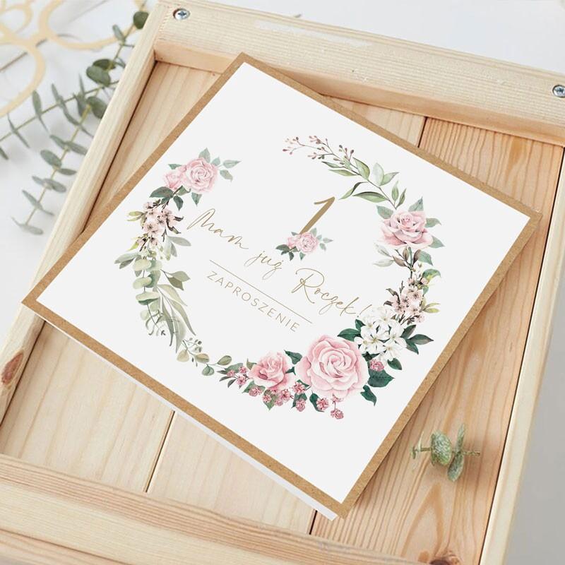 Zaproszenia na Roczek z kwiatowym wianuszkiem