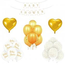 ZESTAW balonów na Baby Shower BIAŁO-ZŁOTY