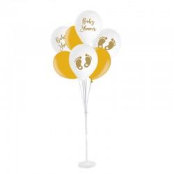 ZESTAW balonów na Baby Shower ze stojakiem BIAŁO-ZŁOTY