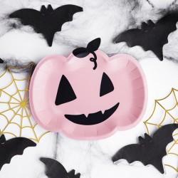 TALERZYKI na Halloween Dynia Różowe 6szt