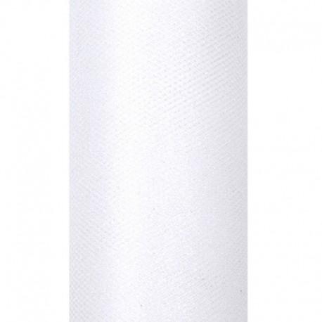 TIUL dekoracyjny 15cmx9m z brokatem BIAŁY