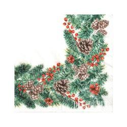 SERWETKI świąteczne Naturalne Szyszki 33x33cm 20szt