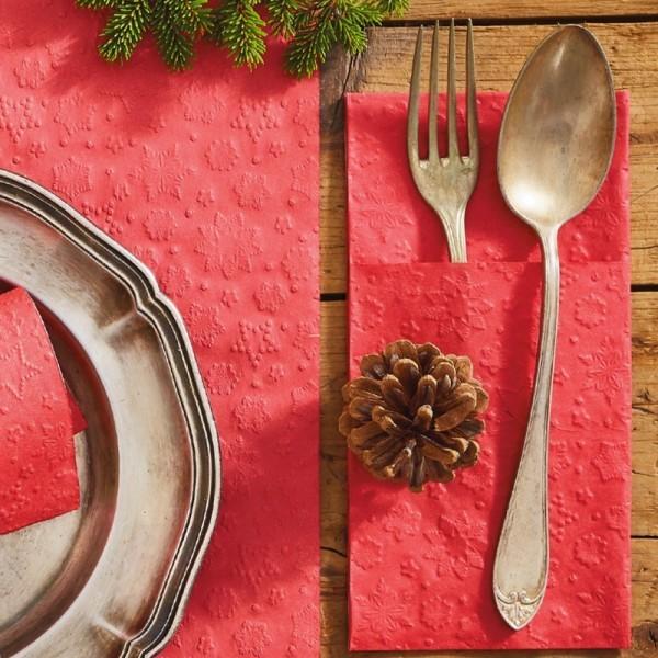 Kieszonki na sztućce czerwone świąteczne